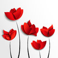 Five red paper flowers white background Royalty Free Stock Photo