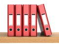 Five ring binders d illustrations of the red in row on the shelf Royalty Free Stock Image