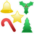 Five shiny Christmas icons Stock Photo