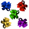 Five Shiny Satin Bows in 3D Stock Image