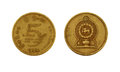 Five sri lankan rupee coin isolated on white background Royalty Free Stock Image