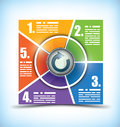 Five stage color changing workflow chart Royalty Free Stock Images