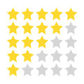 Five-star rating. Gold and gray stars painted with a rough brush.