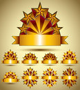 Five stars classic style blank golden banners set, vector collec Royalty Free Stock Photo