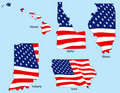 Five States with Flags Stock Photos