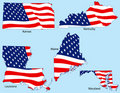 Five States with Flags Royalty Free Stock Image