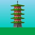 Five storied pagoda in Japan, Asia vector illustration. Flat style icon.