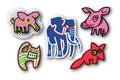 Five Strange Animals Icons Royalty Free Stock Photo