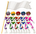Five superheroes and an empty banner illustration of the on a white background Royalty Free Stock Image