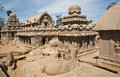 Five temples rathas in mammalapuram india cut stone unesco archeological heritage site mahabalipuram tamilnadu Stock Images