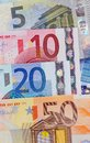 Five ten twenty and fifty euro notes numbers close up Stock Photo