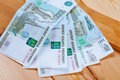 Five thousand banknotes of rubles Stock Photography