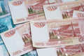 Five thousand ruble notes close up of russian banknotes Royalty Free Stock Image