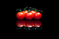 Five tomatoes a black background Royalty Free Stock Photo