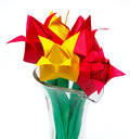 Five tulips vase flower Stock Photography