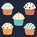 Five vector cupcakes with fun sprinkles for the party Royalty Free Stock Photo