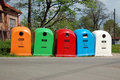 Five waste separation bins Royalty Free Stock Photography