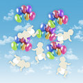 Five white babies flying on colorful balloons in the sky a blue background Royalty Free Stock Photos