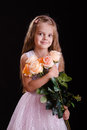 Five-year girl with a bouquet of flowers Royalty Free Stock Photo