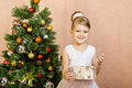 Five-year girl opened a Christmas gift Royalty Free Stock Photo