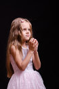 Five-year girl prays Royalty Free Stock Photo