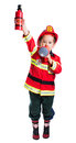 Five year old boy in a suit with a fire extinguisher firefighter stands in one hand and a megaphone in the other isolated on white Royalty Free Stock Images