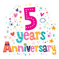 Five years anniversary celebration decorative lettering text design