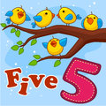 Five yellow birds