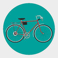 Fixed gear bicycle a vector red retro Stock Image
