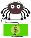 Fixed money a spider sewing a torn Stock Photo