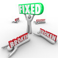 Fixed vs broken one person repair solves problem others fail lifts the word while are crushed by the word to illustrate the power Royalty Free Stock Photo