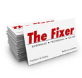 The Fixer Business Card Stack Problem Solver Solution Royalty Free Stock Photo