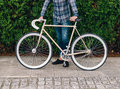 Fixie bike detail in autumn outdoors Royalty Free Stock Photo