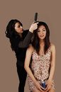 Fixings hair. Royalty Free Stock Photo