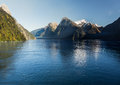 Fjord of Milford Sound in New Zealand Stock Photography