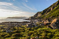 Fjords of norway sunset on a patch grass Royalty Free Stock Photo