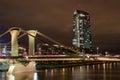 Flösser bridge with ECB in background, Frankfurt am Main Royalty Free Stock Photo