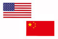 Flag of America and China.