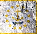 Flag Of American State Of Rhode Island Is Painted On Mountain Wall In Circle Of Thirteen Gold Five-pointed Stars. In Center There