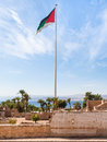 Flag of the Arab Revolt over Aqaba Fort Royalty Free Stock Photo