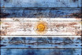 Flag of Argentina painted on grungy wood plank Royalty Free Stock Photo