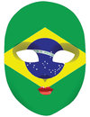 Flag brazil mask classic with symbols of statehood of vector illustration Stock Photos