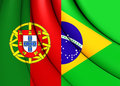 Flag of the Brazil and Portugal Royalty Free Stock Photo