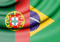 Flag of Brazil and Portugal. Royalty Free Stock Photo