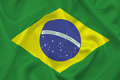 Flag of brazil waved brazilian green yellow and blue are the colours ordem e progresso Royalty Free Stock Images
