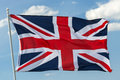 Flag british on sky background Stock Images