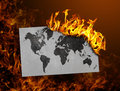Flag burning - world map Royalty Free Stock Photo