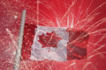 Flag of canada over fireworks Royalty Free Stock Images
