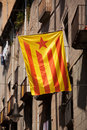 Flag of catalonia posted on the city street catalan outside spanish Royalty Free Stock Images