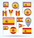 Flag collection of Spain vector illustration. Royalty Free Stock Photo